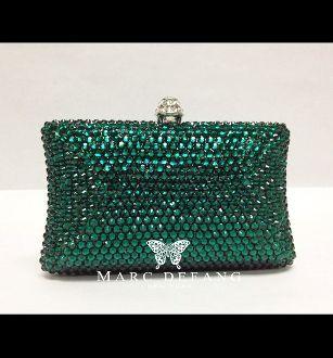 Luxury evening Emerald Crystal clutch bag by MDNY