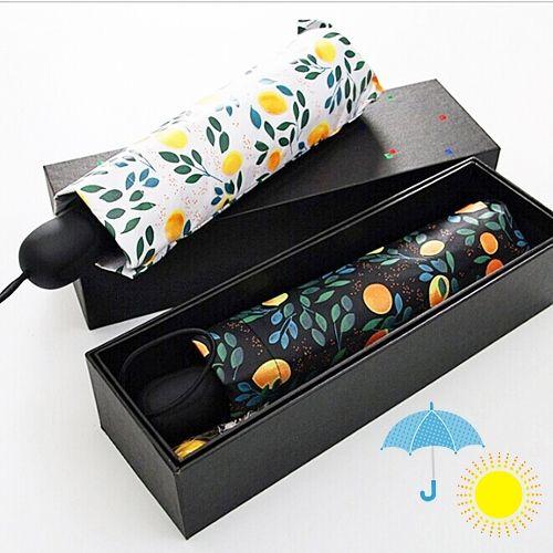 晴雨兼用・UV CUT★自動開閉・折り畳み雨傘(レモン柄)~ギフトボックスつき