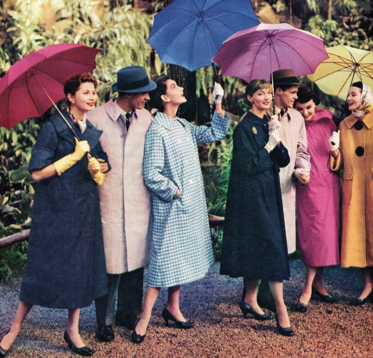 just suppose it does get a bit wet > Coats and hats for rain or shine, 1956Colors Raincoat, 50S Style, Spring Flower, Vintage Fashion, Fashionphoto Vintage, 1950S Rain Coats, 1950 S, 1950S Boards, Vintage Style