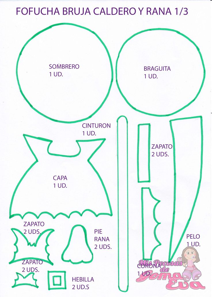 Moldes de Fofucha Bruja con Caldero y Rana.    En la entrada de mi blog:  http://mispecosasdegomaeva.blogspot.com.es/2015/07/fofucha-bruja-con-caldero-y-rana-moldes.html