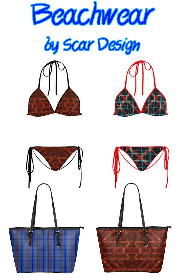 Beachwear Bikini and Bags  by Scar Design.  http://www.artsadd.com/shop/plaid_i_hipster_style_plaid_modern_design_custom_bikini_swimsuit-1270377.html  #beachwear #beachwear2017 #beach #redbikini #swimwear #bikini #beachbag #summer #summer2017  #scardesign #geometric #fashion #summerfashion