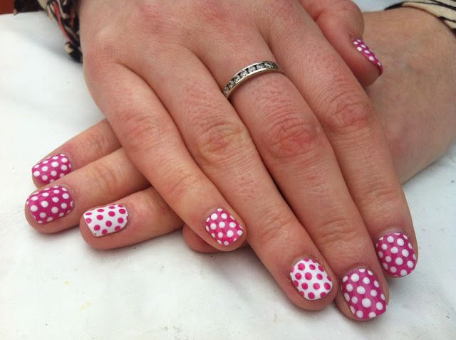 116 best cnd shellac images on pinterest shellac nail art cnd shellac nail art hot pop pink and cream puff polka dots prinsesfo Image collections