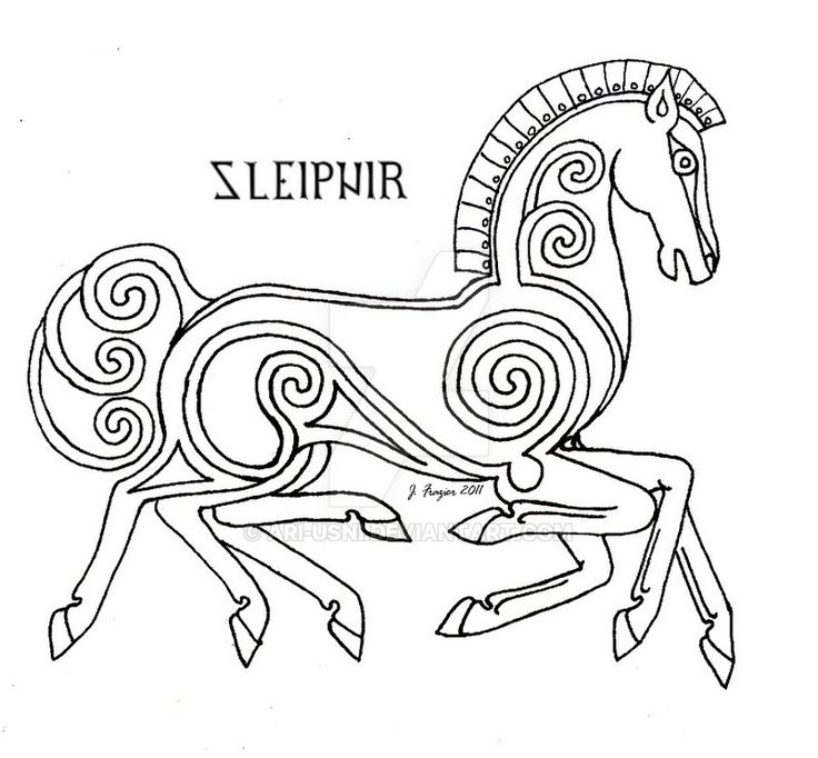 Design of Sleipnir for a large scale applique and embroidery project. Please don't copy or use without my permission.