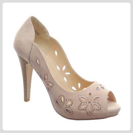 Kickly - damen Mode Schuhe Pumpe Sandalen Strass Schuhabsatz Stiletto high heel - Rosa T 41 - UK 7.5 - Damen pumps (*Partner-Link)