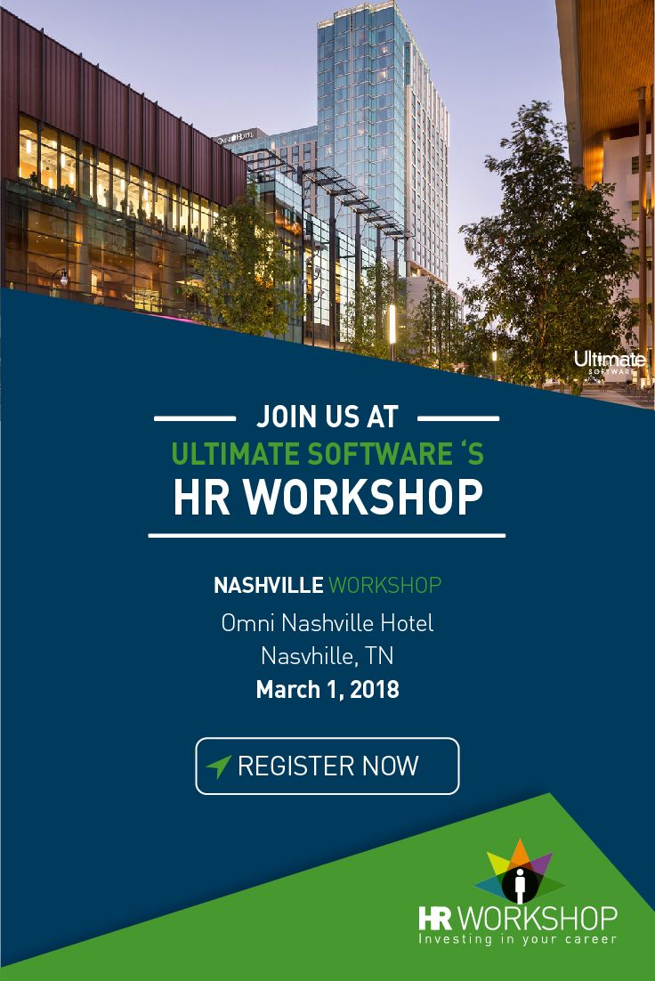 * Join us for a complimentary HR Workshop at the Omni Nashville Hotel in Nashville, TN! You'll learn about a range of essential topics, including what every organization needs to know about minimizing the risk of sexual harassment in the workplace. Full agenda here: http://ulti.pro/2mtTpPN