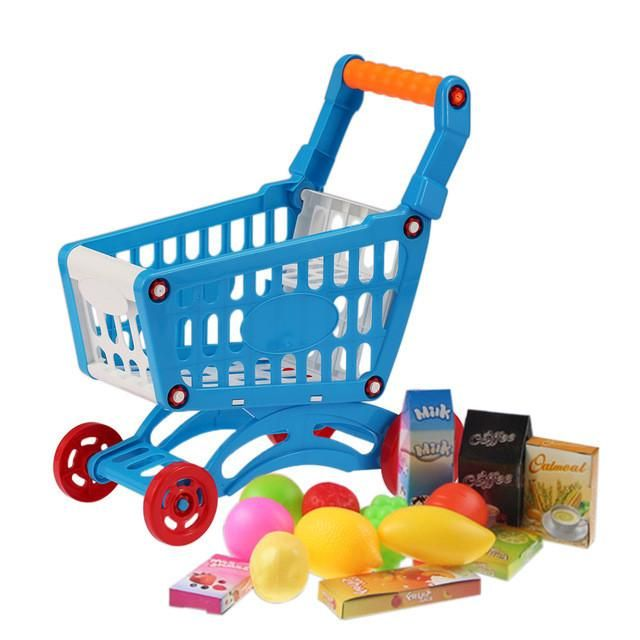 Kids Pretend Play Toys Set Small Shopping Cart Supermarket Handcart Children Toys Storage Plastic Food and Vegetables