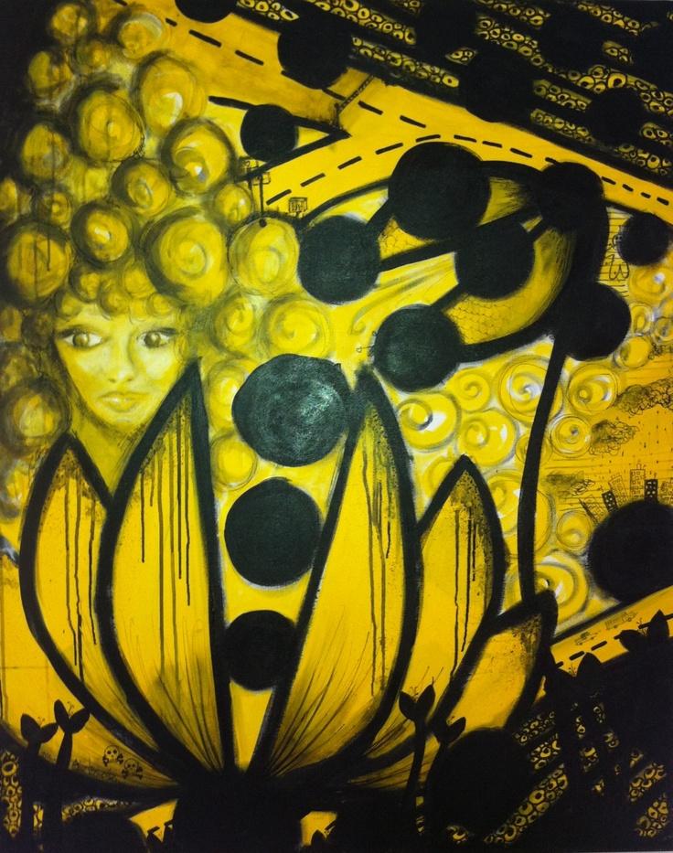 Vejen var gul. 80x100 www.stinebennedsen.dk