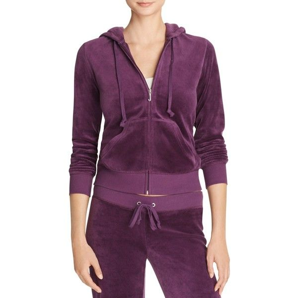Juicy Couture Black Label Robertson Velour Zip Hoodie in Aubergine -... ($120) ❤ liked on Polyvore featuring tops, hoodies, aubergine dark purple, juicy couture hoodie, purple hoodies, hooded zip sweatshirt, purple hoodie and velour hoodie