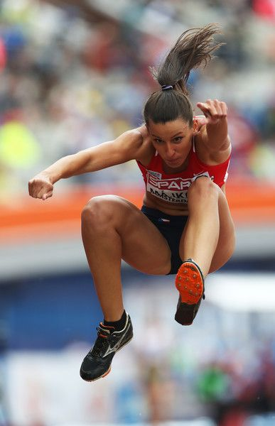 Lucie Majkova of The Czech Republic in action during the qualifying round for the womens triple jump on day three of The 23rd European Athletics Championships at Olympic Stadium on July 8, 2016 in Amsterdam, Netherlands.
