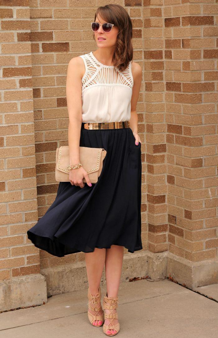 Black Pencil Skirt Top White & Gold Belt   Nude heeled sandals, Navy midi flowy skirt, White tank blouse, Nude clutch, Gold & Black belt