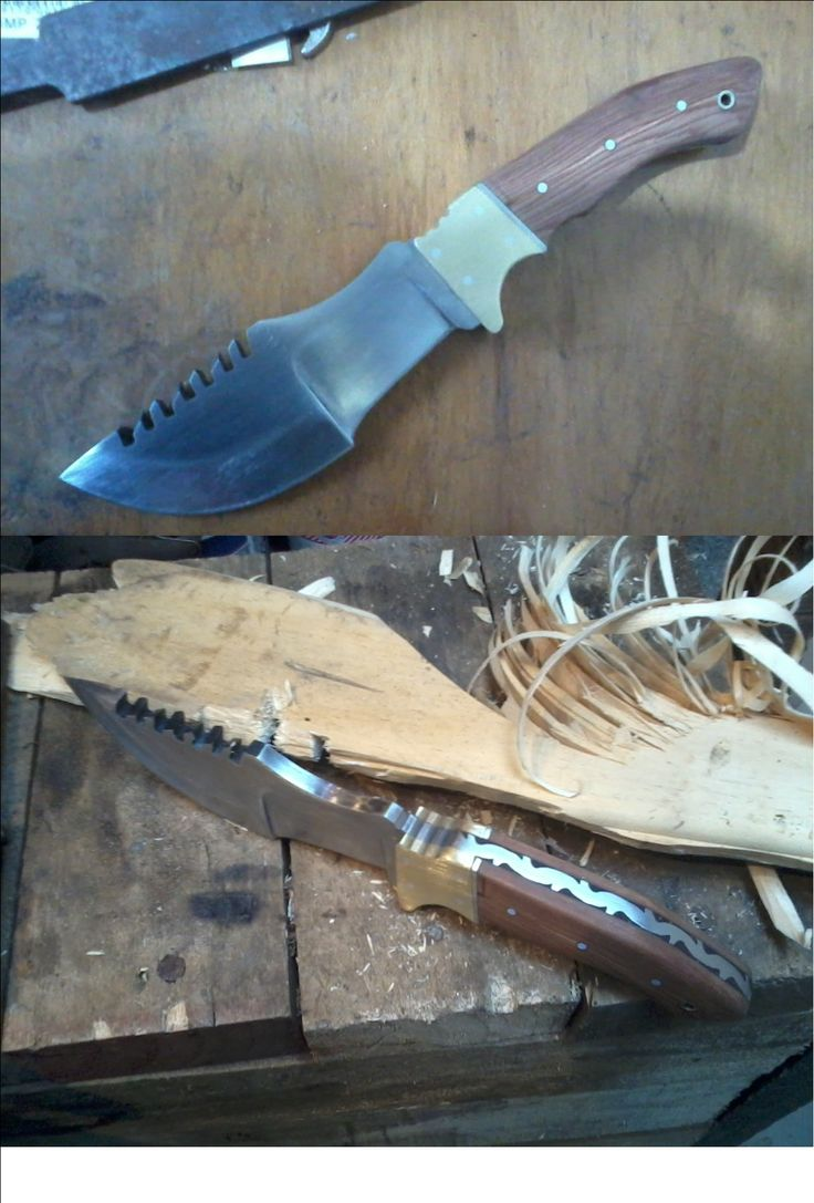 A tracker knife, Made from a leaf spring
