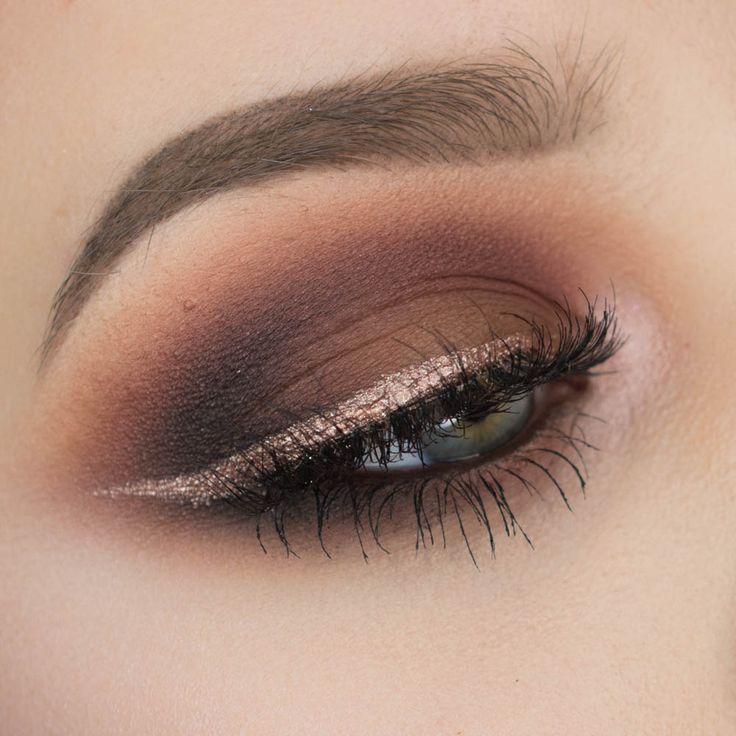 Brown Smokey Eyeshadow with Rose Gold Eyeliner