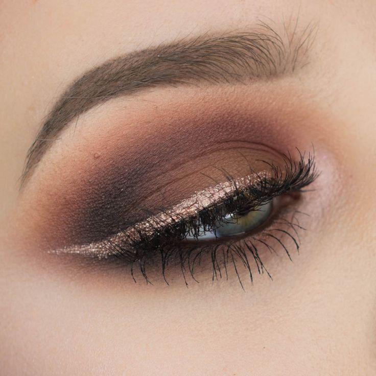 Brown Smokey Eyeshadow with Rose Gold Eyeliner