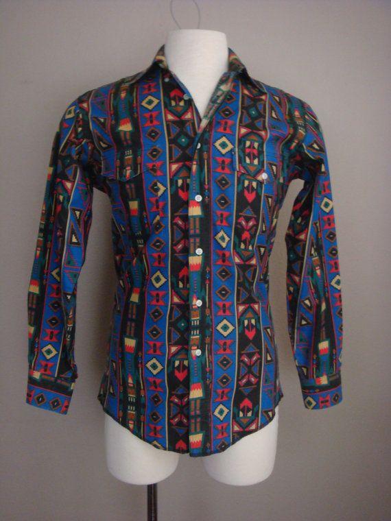 Blue Aztec Style Vintage Shirt hY6cZSM