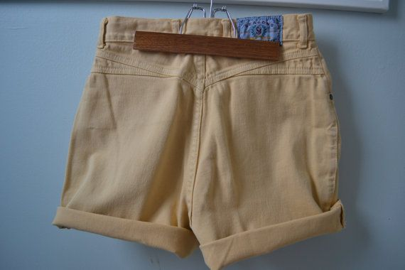 Vintage Yellow High Waisted Womens Jean Shorts by raggedwillow