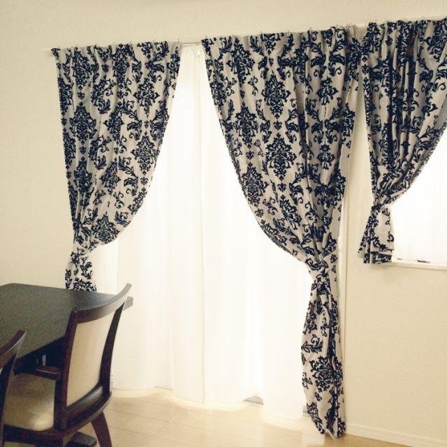 nori...nkoさんの、採光・遮像カーテン,ニトリ,カーテン,ダマスク柄,リビング,のお部屋写真
