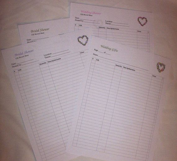 wedding gift recorder  bridal shower  wedding shower gift record sheet  printable  floral hearts