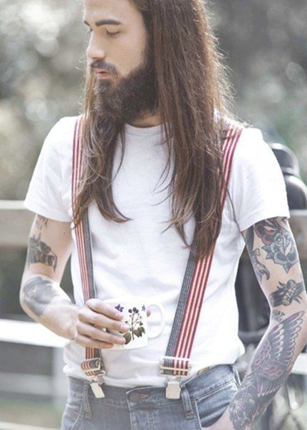 Long hair, specifically useful trend idea for a member of Modern Epic.  Suspenders, white shirt, showcase the hair....yes.