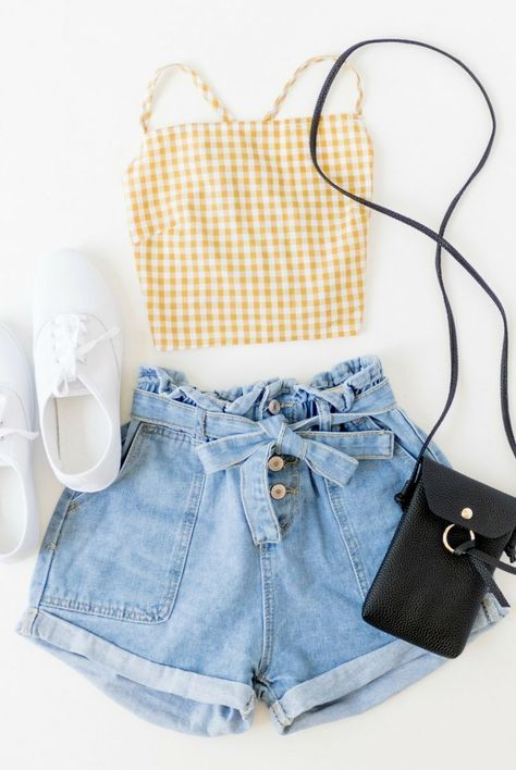 Yellow and white gingham crop top, spaghetti strap, criss cross, tie, open back, shirt, checkered, high waist light wash denim, vintage, white keds //…