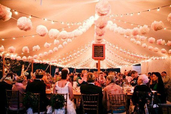 40 Tissue paper POMPOMS - wedding decorations - custom colors // ceremony decor// birthday party // tent decor // event decoration