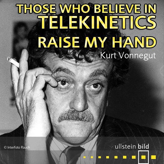 """Those who believe in telekinetics, raise my hand."" American writer #KurtVonnegut died #OTD in 2007. He is most famous for his darkly satirical, best-selling novel Slaughterhouse-Five."