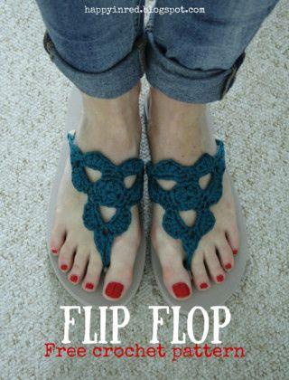 Crochet flip flops, free pattern