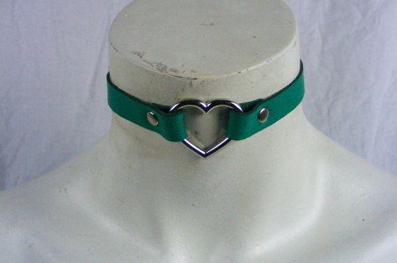 Choker Genuine Leather  Aqua Green Heart Choker by StarCreationsCa
