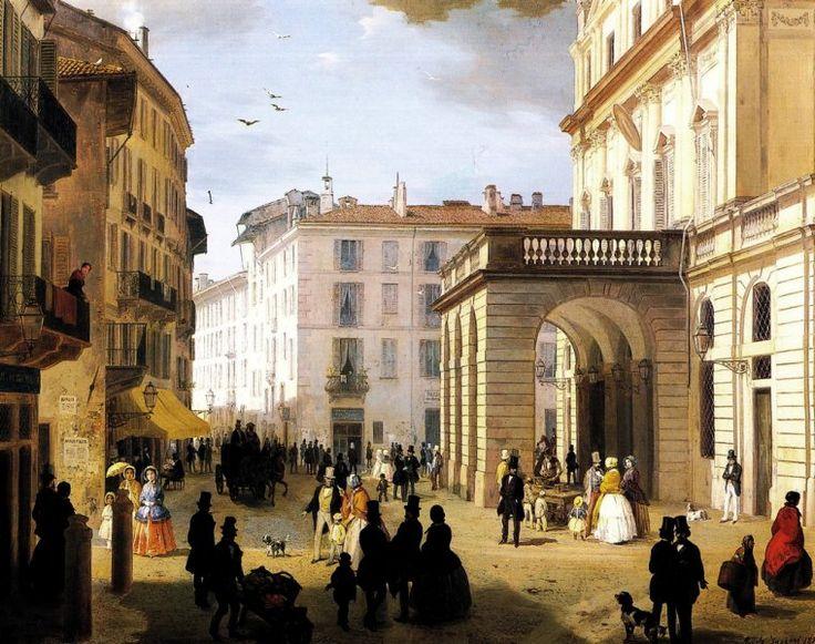 Veduta di piazza della Scala di Milano, 1850