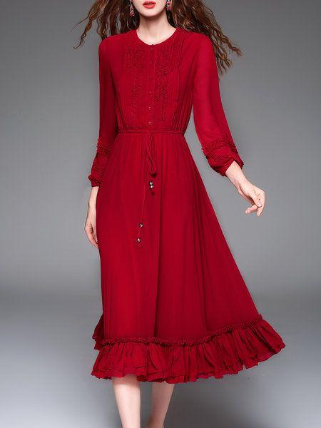 Long Sleeve Vintage Plain Midi Dress