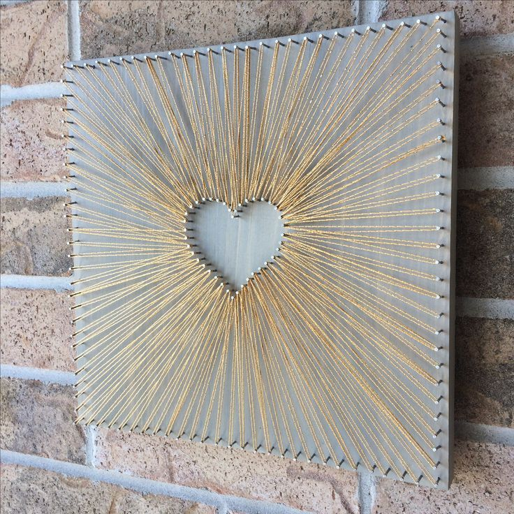 Reverse String Art Heart – Gold Inspiration – grö…