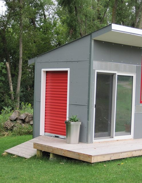 56 best images about mid century modern garage workshop for Garden shed with roller door