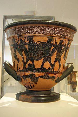 Greek Pottery with scene of Hoplites in battle