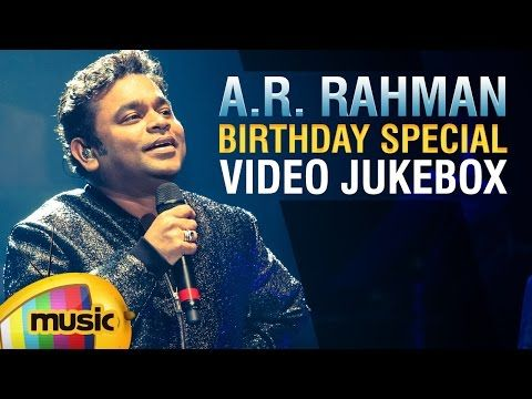 AR Rahman Telugu hit songs Jukebox. Listen to his birthday special Video Songs from musical blockbuster movies like Roja, Oke Okkadu, Naani, Ye Maaya Chesave, Paravasam and Priyuralu Pilichindi.