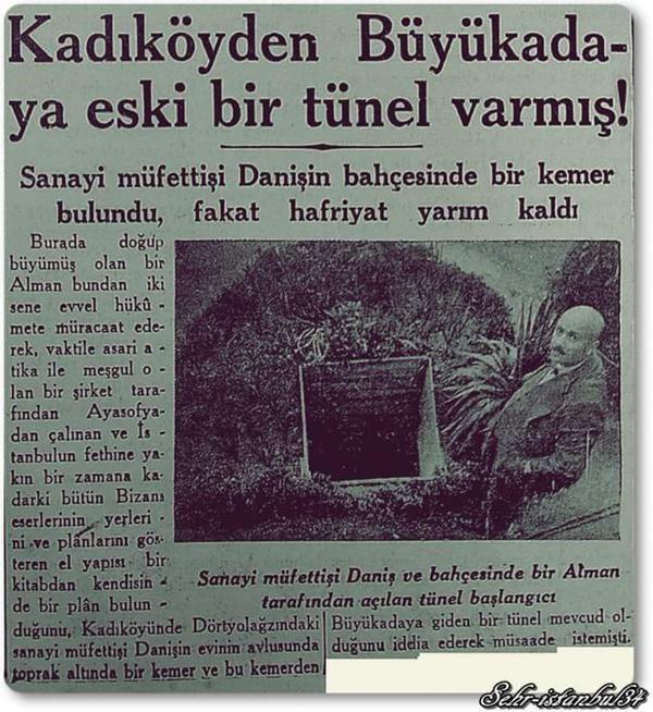 """""""Kadıköy'den Büyükada'ya eski bir tünel varmış"""" (Cumhuriyet Gazetesi, 1935) #istanbul #istanlook #eskihaberler"""