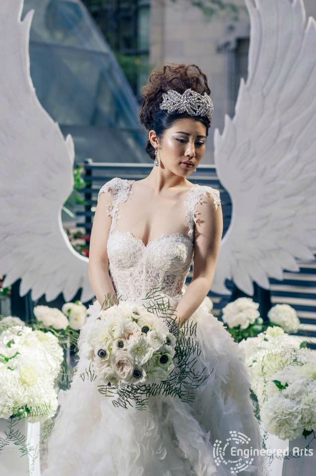 Beautiful Angel Wings photoshoot for the Wedluxe magazine created by Engineeed Arts #sculpture#3dfoam#3d#toronto#wedding#event