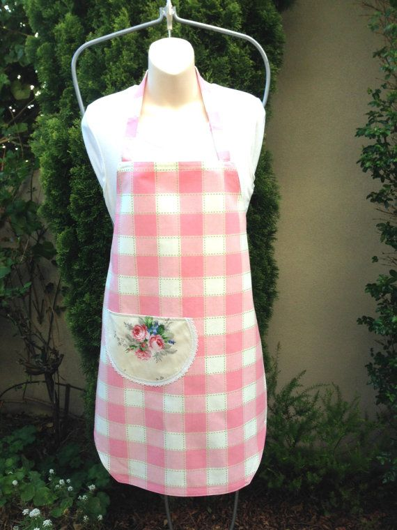Pink White Green Apron Handmade Medium Apron by ArabellaBlossoms