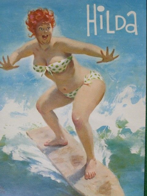 Hilda - surfing on ironing board