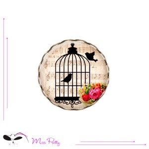 MUSICAL BIRDS - cabochon ring - bague cabochon - . Cabochons :: brass :: laiton :: glass :: verre :: retro :: vintage :: rings :: bagues :: oiseaux :: cage à oiseaux :: birdcage