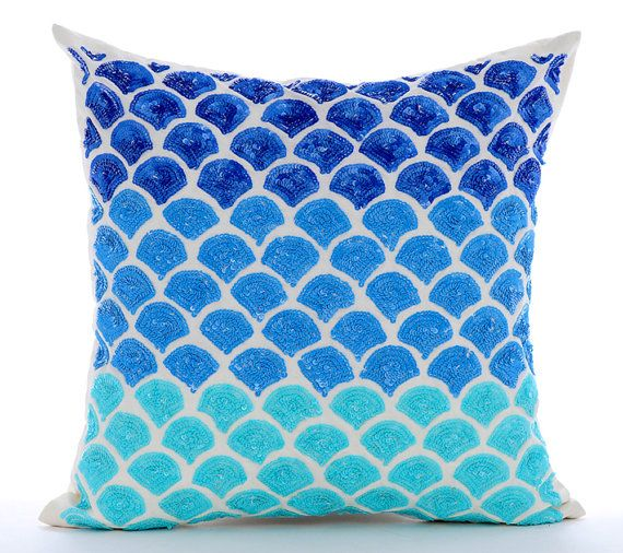 aqua blue decorative throw pillow covers couch toss bed pillow case 16x16 silk pillow cover sequins embroidered blessed with the sea