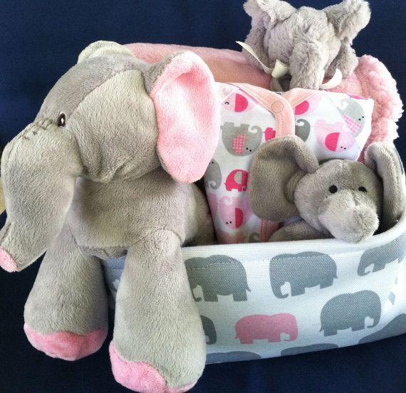 Elephant Baby Girl Gift Basket By Fivebrownmonkies Perfect