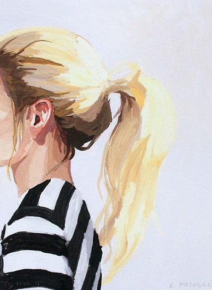 Arte, gráfico, aquarela, menina.