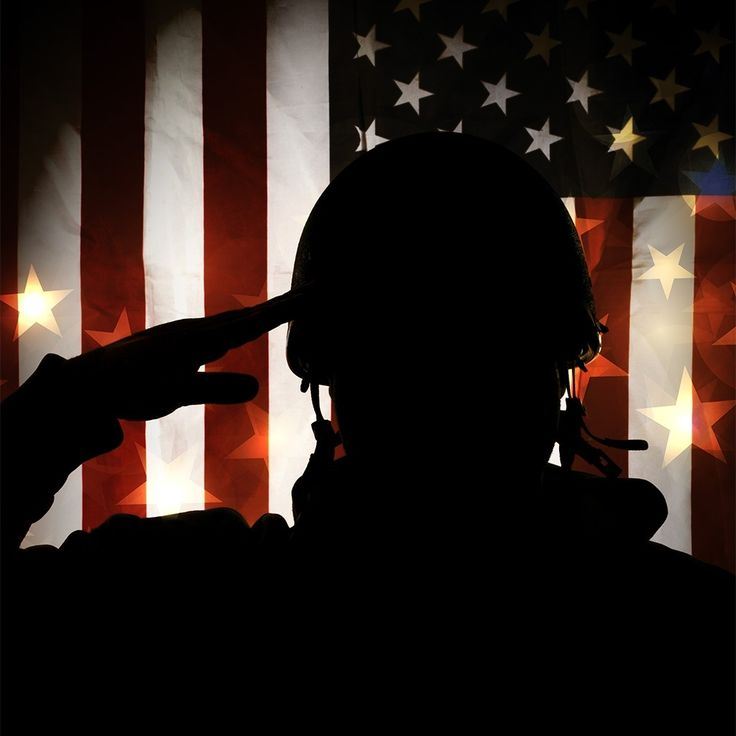 American flag. Soldier. Salute. Silhouette.