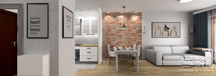 kitchen, living room, dining room