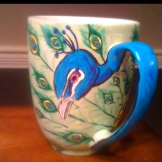 Peacock ceramic painted mug artsy fartsy pinterest for How to paint ceramic mugs at home
