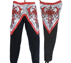 eLucha - Custom Wrestling Gear - Red/silver on black Tribal wrestling tights. Site as other options as well...