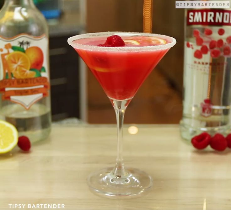Raspberry Lemon Drop Martini - For more delicious recipes and drinks, visit us here: www.tipsybartender.com