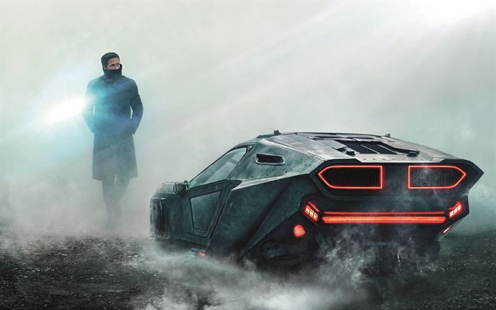 Download wallpapers Blade Runner 2049, 2017, Ryan Gosling, car, poster, new movies