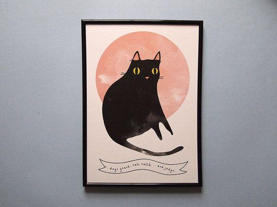 Salem print  Black cat   A4 art print  cat print  by ilikeCATSshop