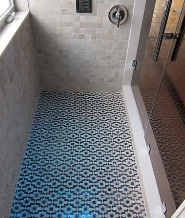 DAZZLE tile floor with R'CEEF walls in this shower.     Mosaic House' s MEDINA line for dealers