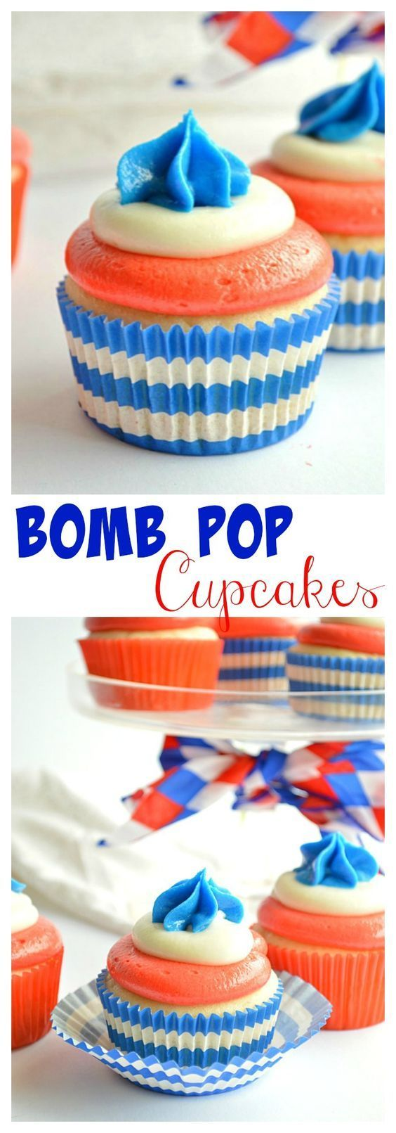 Bomb Pop Cupcakes - made with all the flavors of the classic popsicle! Blue Raspberry, White Lemon, and Cherry! A fun dessert for Memorial Day, 4th of July, or Labor Day! | http://houseofyumm.com for http://cupcakesandkalechips.com